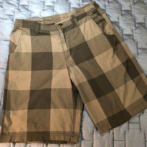Lululemon Kahuna Black/Brown Plaid shorts, 34